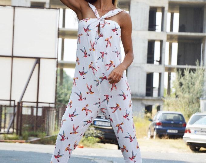 Women Cotton Jumpsuit, Summer Jumpsuit, Drop Crotch Harem Jumpsuit, Extravagant Harem Pants, Open Back Jumpsuit by SSDfashion