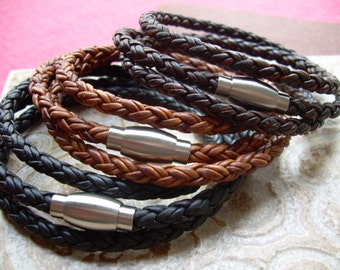 Men Leather Bracelet  Leather Bracelet Mens Braided Leather Triple Wrap Bracelet with Stainless Steel Magnetic Clasp Mens Jewelry
