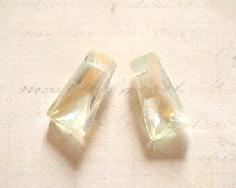 2 faceted trapezoidal Bohemian crystal yellow transparent 20x10mm
