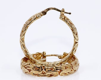 Byzantine Style Gold Vermeil Hoop Earrings