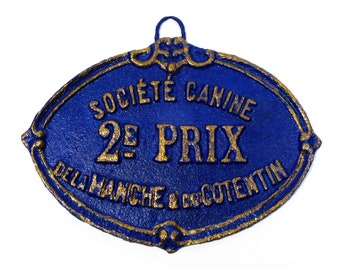 A french dog show trophy plaque circa 1926, French Canine 2nd Prize Trophy, Wall Mounted Dog Trophy, Blue and Gold Dog Trophy (610)