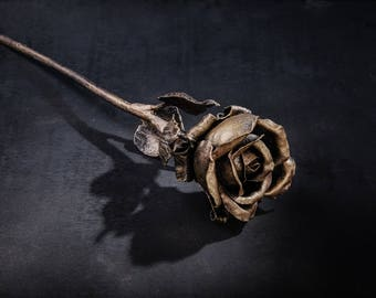 Wrought iron  Metal rose Steel rose Steel Sculpture Iron Rose  6th Anniversary Gift for wife Forged flower sculpture Forged steel flowers