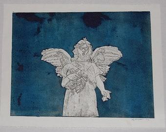 Blue Angel Etching