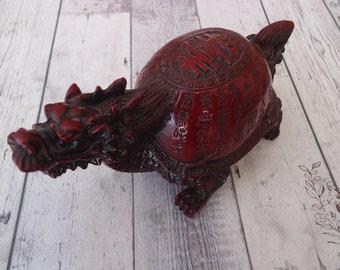 Vintage asiatique sculpté Figurine Dragon cinabre