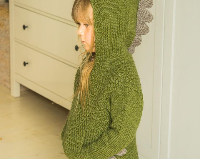KNITTING PATTERN dragon sweater Rex with a pocket and spikes (toddler and kids sizes)