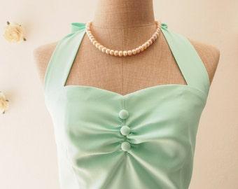 Mint Green Bridesmaid Dress Vintage Modern Dress Vintage Swing Dress Midi Long Dress Retro Halter Summer Dress Cute Sundress , Custom