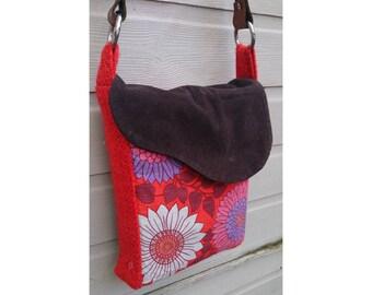 Vintage 60's floral handmade messenger shopper shoulder bag