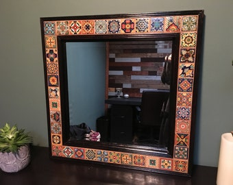 Decorative Beveled Wall Mirror with Talavera Tile - 28 x 32 in.