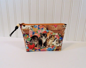 Cosmetic Case, Make up Bag, Cell Phone Case, Clutch, Glasses Case, Kittens
