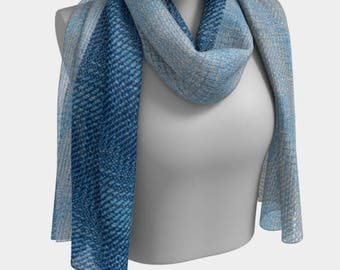 Brown and Blue Diagonal Woven Repeat Printed Scarf Number 1