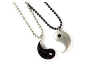 My Other Half -Friendship Yin Yang Pendants on Ball Chain Necklaces