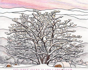 Winter Sunset Tree -Art Print - 8x10 11x14, peaceful snow-covered mountains, Valentine Gift// Gifts for Her//