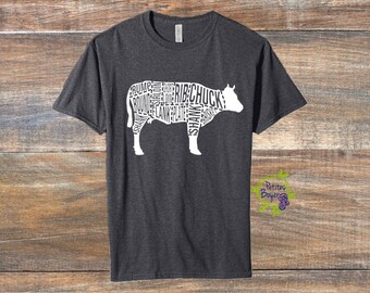 Butcher Chart - Cow Shirt - DIY Iron On Vinyl