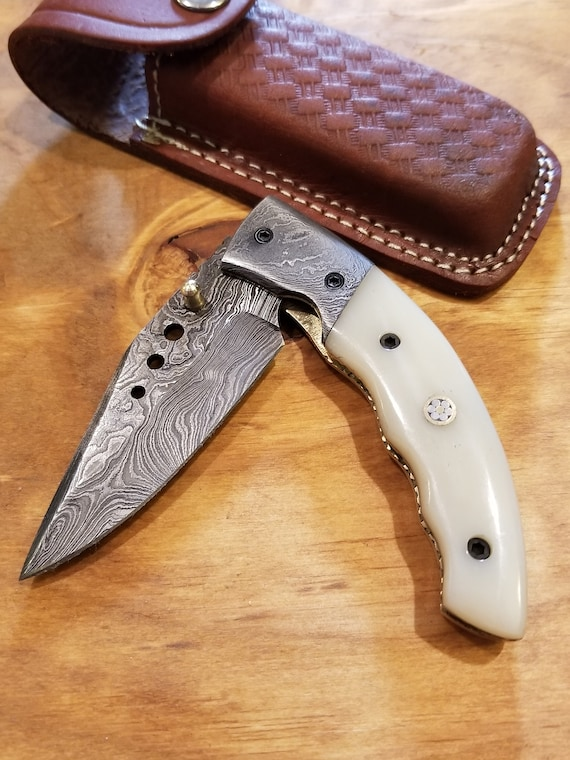 Handmade Bone Handle Folding Pocket Knife Damascus Steel Blade Hunting Collection With Leather Sheath Hunting Outdoors Premium (K36)