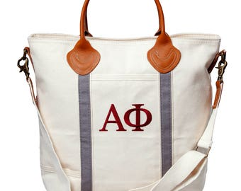 APHI Alpha Phi Sorority Embroidered Cotton Canvas Flight Bag