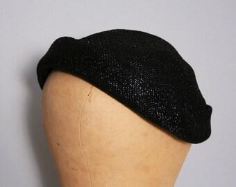 Vintage 50s Hat / Black Lurex Hat / Sparkly Hat / 1950s Fascinator / Metallic Hat / Holiday Cap