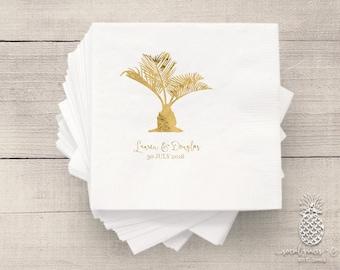 Wedding Napkins | Personalized Napkin | Tropical Sago Palm Napkins
