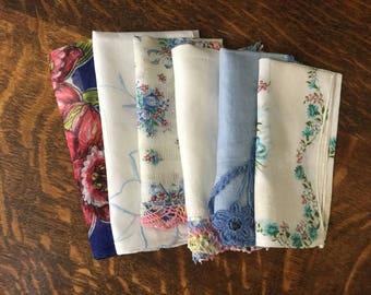 Vintage Ladies' Handkerchiefs-Blue Palette