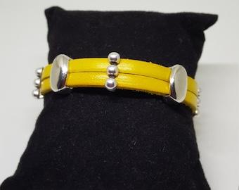 "Bracelet cuir ""YELLOW"""