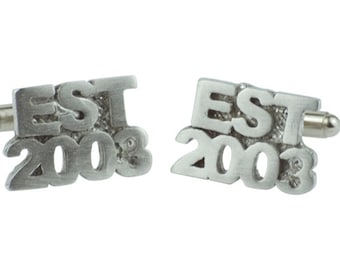 Established 2003 15th Wedding Anniversary Cuff links - EST 2003 - Handmade & Unique Cufflinks for 15 Year Gift