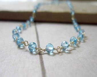 Custom Length - Sky Blue Topaz Gemstone Chain - Wire Wrapped Jewelry Handmade - Handmade Sterling Silver Chain - Rosary Style Chain