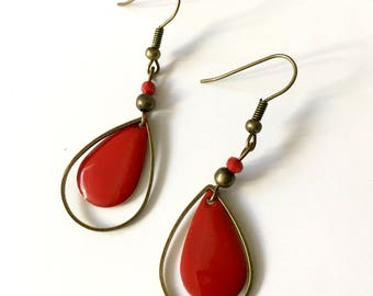 Drop dangle earrings, red enameled brass beads.