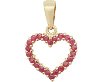 9ct Yellow Gold 0.62ct Claw Set Ruby Gemstone Open Heart 1.2cm Pendant