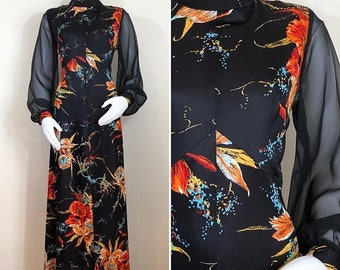 30% Off Sale 70s Black Orange Floral Sheer Long Sleeve Maxi Dress, Size Large