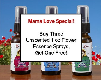 Unscented Flower Essence Sprays, Buy Three Get One Free, 1 oz each, Organic Reiki-Infused, For People and Pets