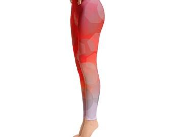 Red Yoga Leggings - Women's Leggings - Quality Leggings - FlyDesignStore