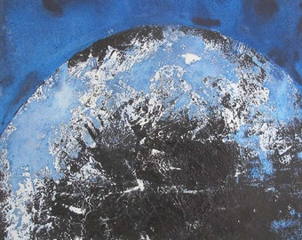 Original Abstract Painting - Blue 12 x 12 inch minimal modernist blue by Stef Mitchell