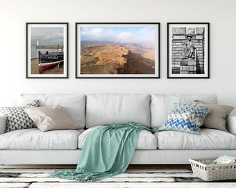 Israeli and scotish Landscape    triptych  set for your home