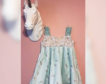 Mint Green and Gold Toddler's Dress