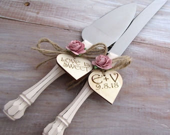 Rustic Wedding Cake Server Knife Set Cream Handle Dusty Pink Flower Personalized Bridal Shower Gift Wedding Gift You Choose Colors