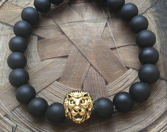 Matte Black Gold Lion Head Bracelet
