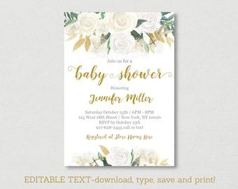 Gold Floral Baby Shower Invitation / Floral Baby Shower / White & Gold / Gender Neutral / Editable PDF INSTANT DOWNLOAD A449
