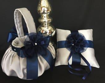 Gray & navy blue flower girl basket ring bearer pillow silver ring pillow silver flower girl basket silver wedding flower girl basket
