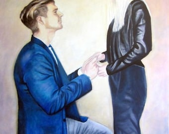 Large Custom Portrait Painting from photo, 2 subjects, oil painting on canvas, eg The Proposal, engagement, custom wedding gift, bride groom