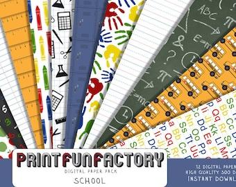 School digital paper - back to school scrapbook backgrounds - 12 digital papers (#147) INSTANT DOWNLOAD
