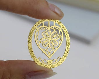Gold heart bookmark key 2.8 cm gold metal bookmark