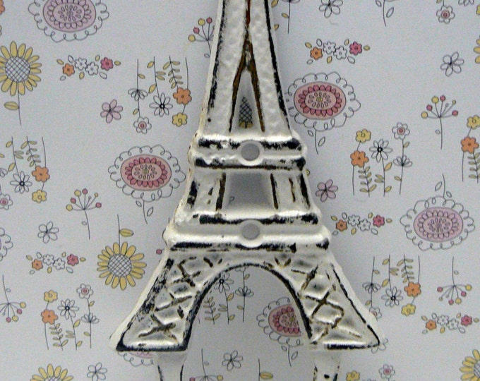 Eiffel Tower Cast Iron Shabby Elegance White Wall Hook French Home Design Art Decor Paris Coat Jewelry Towel Hat Leash Key Mudroom Hook