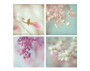 Four Flower Print Set, Flower Photography,  Floral Art Prints, Pink Mint Flower Wall Decor, Macro Photography, Bedroom Decor