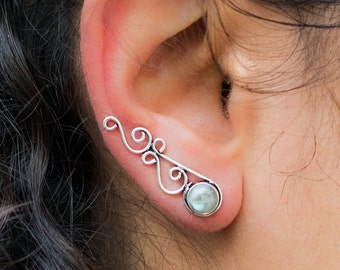 Silver Ear Cuff // Moonstone Ear Climber // Silver Ear Crawler // Ear Sweeps // Ear Jacket // Celtic Knots Earring // Celtic Climber