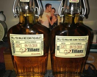 Groomsman Liquor Flask with Labels - Liquor Flask - Hinged Flask 500ml - 17oz -  Bottle & Labels