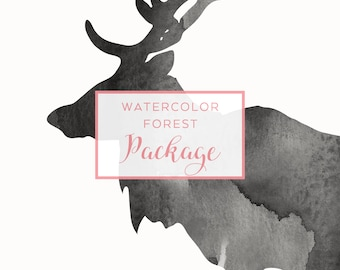 Watercolor Forest Clip Art Package, Animal Silhouette Bundle, Watercolor Clip Art, PNG Animals Silhouette, Digital download Clipart, P002