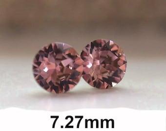 7.27mm Antique Pink Studs, Xirius Rhinestone Stud Earrings, Wine Colored Crystal Earrings