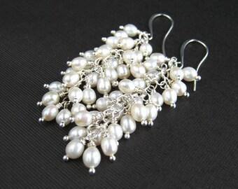 Cluster White Freshwater Pearl Earrings White Freshwater Pearl Cluster Earrings Pearl Bridal Earrings Pearl Wedding Earrings