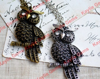 Large Owl Charm Pendant Antique Silver With Chain Necklace