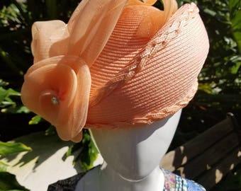 Peach pill box hat