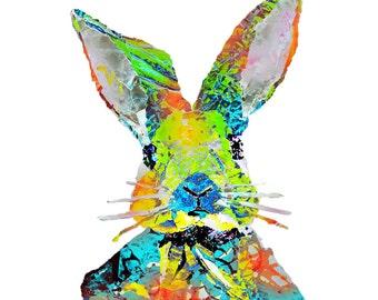 illustrated rabbit postcard, art card rabbit, art postcard,  colorful rabbit print, animal greetings card -Eco Friendly Stationery